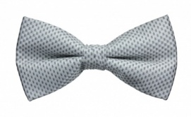Polyester Pre-Tied Silver Grey Bow Tie with Check Pattern